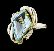 5.20 ctw Aquamarine and Diamond Ring - Platinum and Yellow Gold