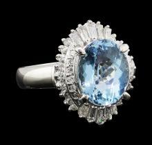 2.60 ctw Aquamarine and Diamond Ring - Platinum