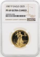 1987-P NGC PF69 Ultra Cameo $25 Eagle Gold Coin