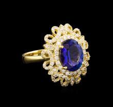 4.12 ctw Tanzanite and Diamond Ring - 14KT Yellow Gold