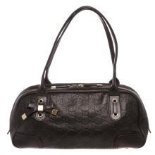 Gucci Black Leather Guccissima Princy Boston Bag