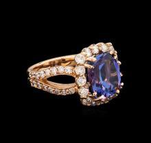 6.12 ctw Tanzanite and Diamond Ring - 14KT Rose Gold
