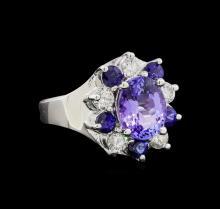 14KT White Gold 2.48 ctw Tanzanite, Sapphire and Diamond Ring