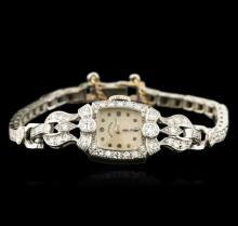 Hamilton 14KT White Gold 1.00 ctw Diamond Ladies Vintage Watch
