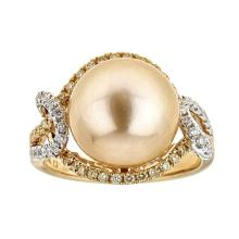 12.03 ctw South Sea Pearl and Diamond Ring - 18KT Two-Tone Gold