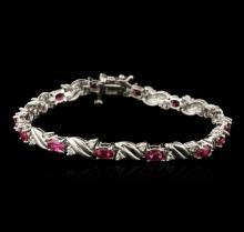 14KT White Gold 4.92 ctw Ruby and Diamond Bracelet