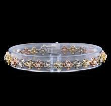 1.22 ctw Diamond Bracelet - 14KT Tri Color Gold