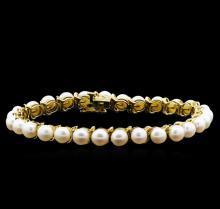 14KT Yellow Gold 5.5MM Pearl Bracelet