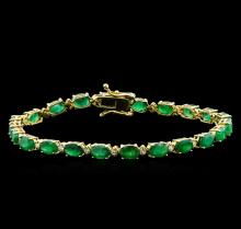 10.00 ctw Emerald and Diamond Bracelet - 14KT Yellow Gold
