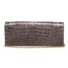 MCM Charcoal Gray Crocodile Clutch Shoulder Bag