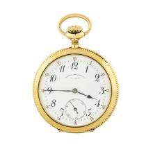 Agassiz Open-Face Pocket Watch - 14KT Yellow Gold
