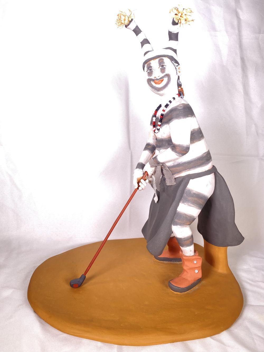 Joe Caajero Jr. KGA Koshaki Native American Watermelon Man Pottery Kachina Golfer