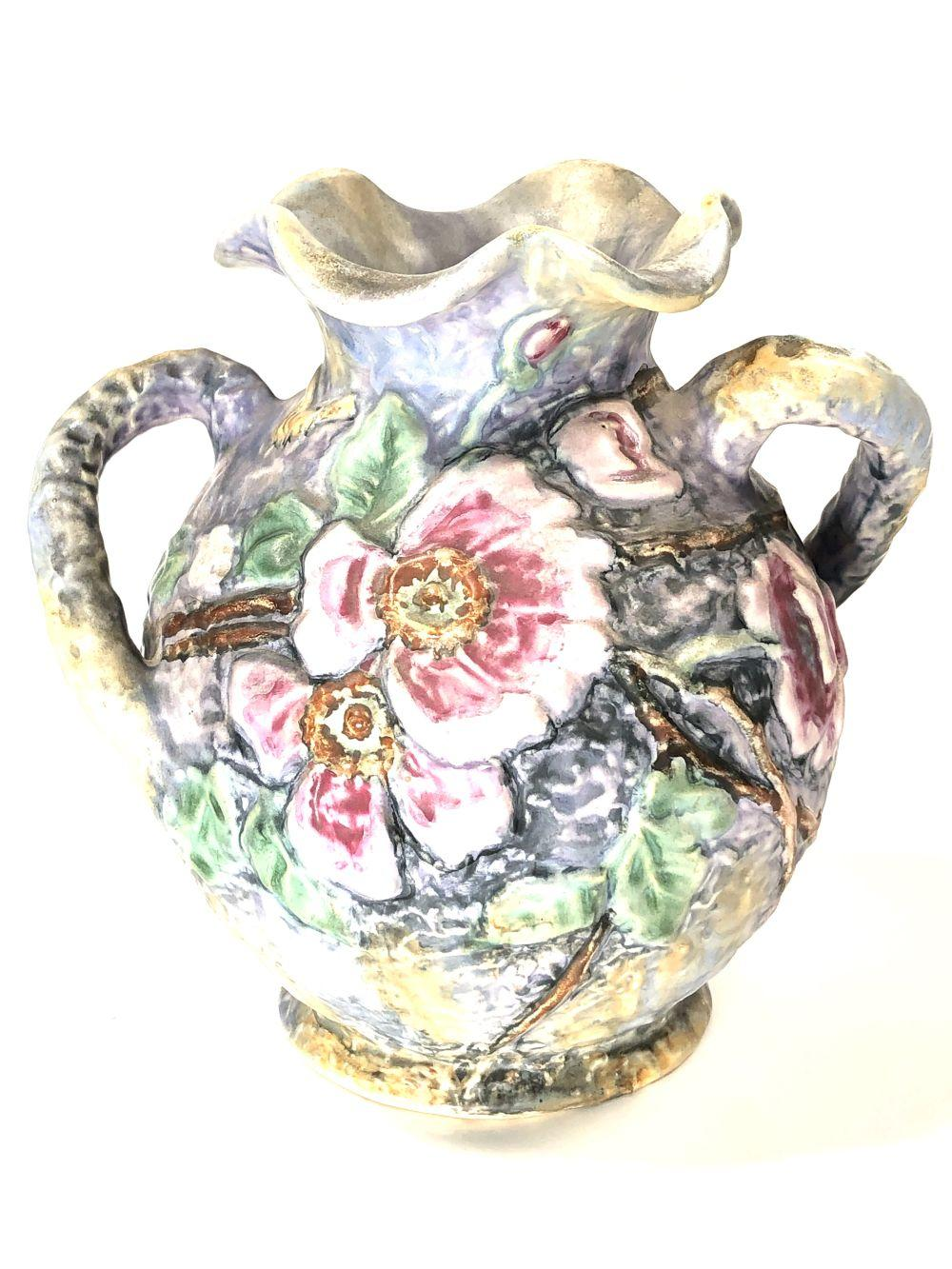 Double Handled Weller Pottery with Pink Floral Design