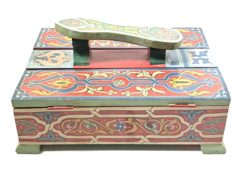 Painted Wooden Cobbler Box with 2 Lids