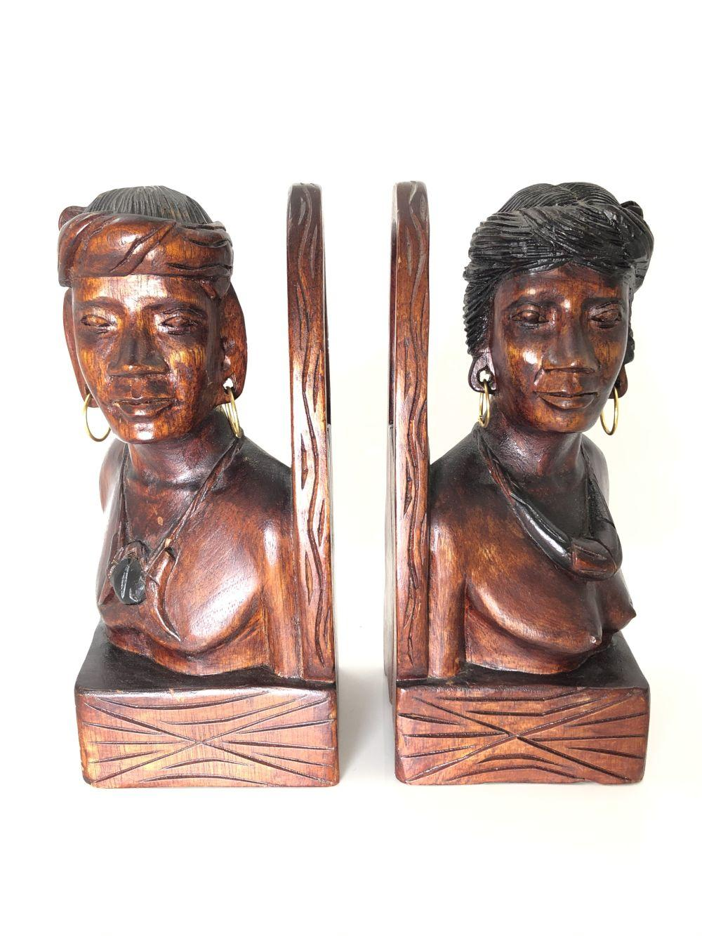Wood Carved African Bookends