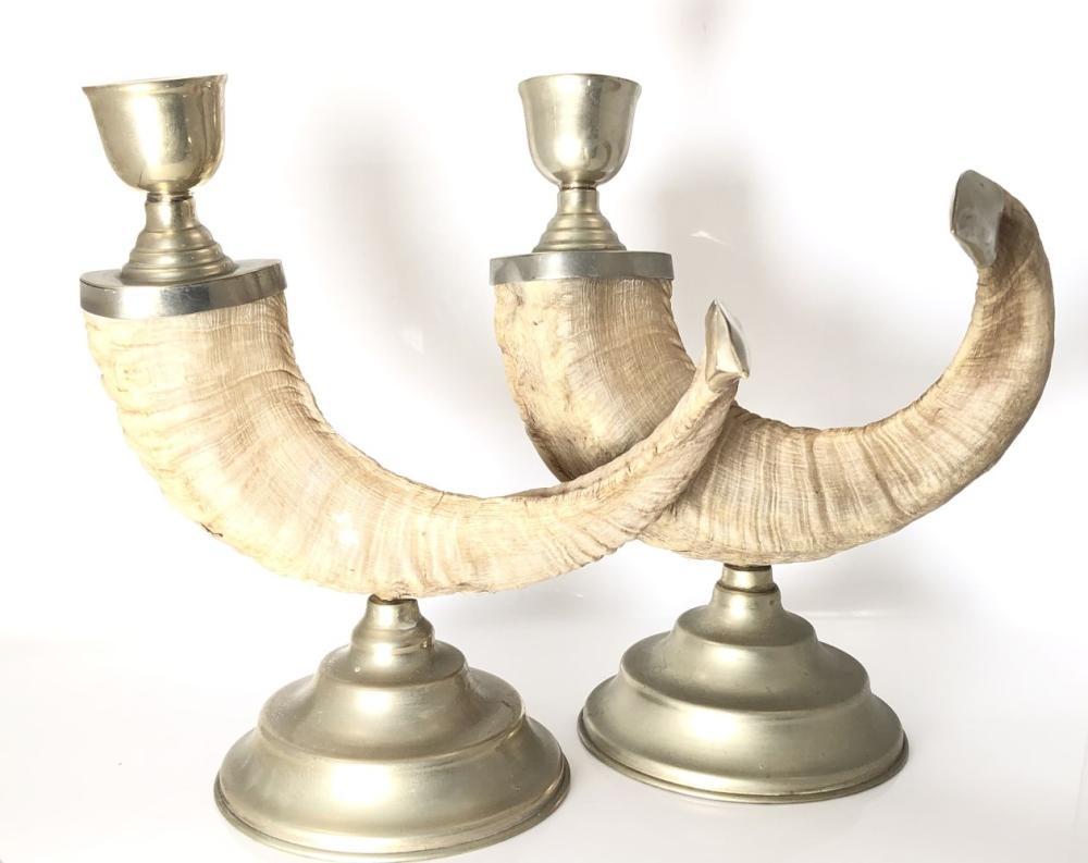 Pair of Ram Horn Candlesticks