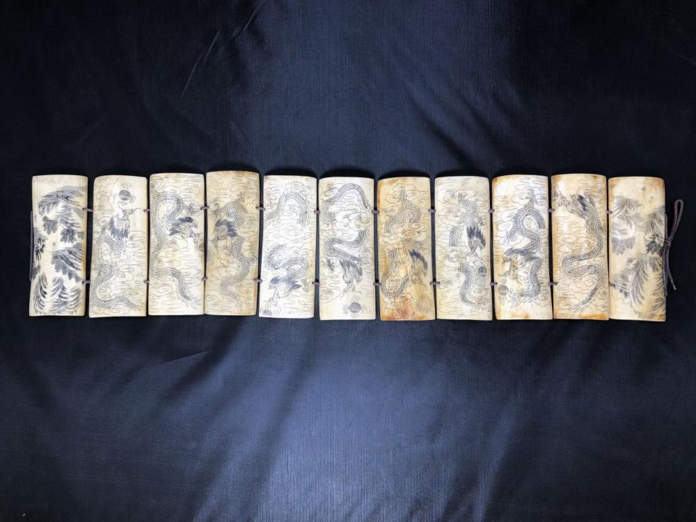 19th Century Carved Bone Panel with Dragon Scene