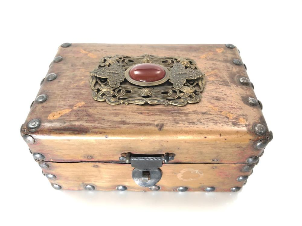 Jo Marz Artist Tramp Art Box Cased in Copper Tone Tin, with Red Cabochon Stone
