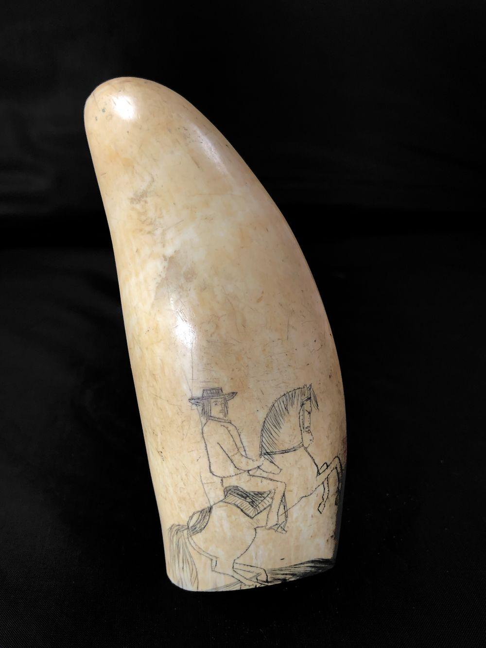 Ivory Tusk with Hand Carved Old Spanish Scene