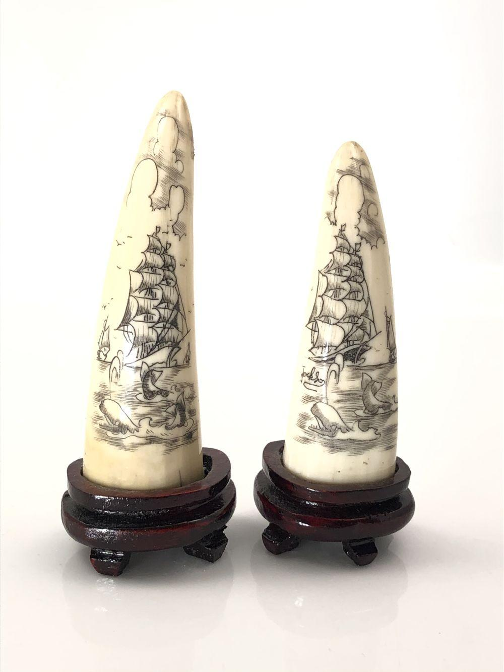 Pair of Carved Ivory Tusks with Sailboat Scene with Stands