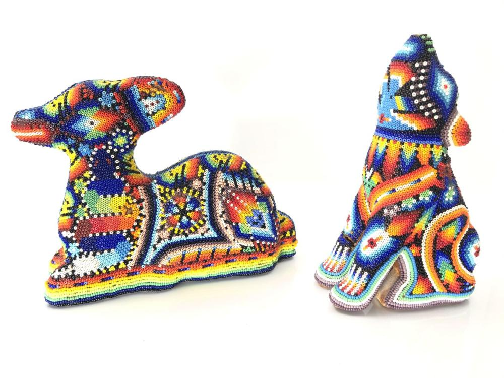 Huichol Mexican Beaded Animal Sculptures on Wooden Forms