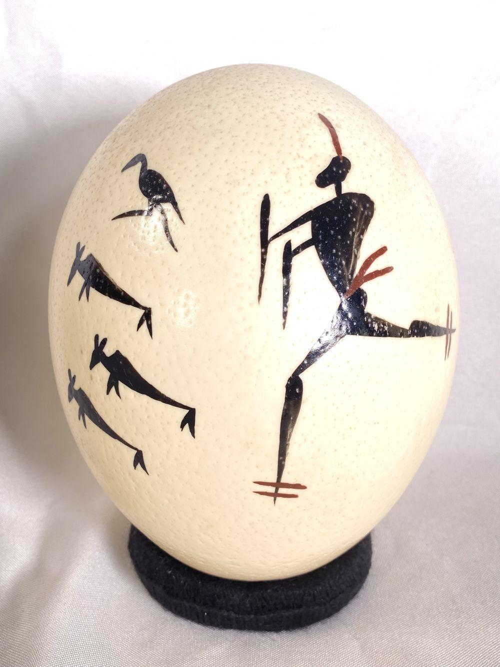 Ostrich Egg with Painted Native Tribe