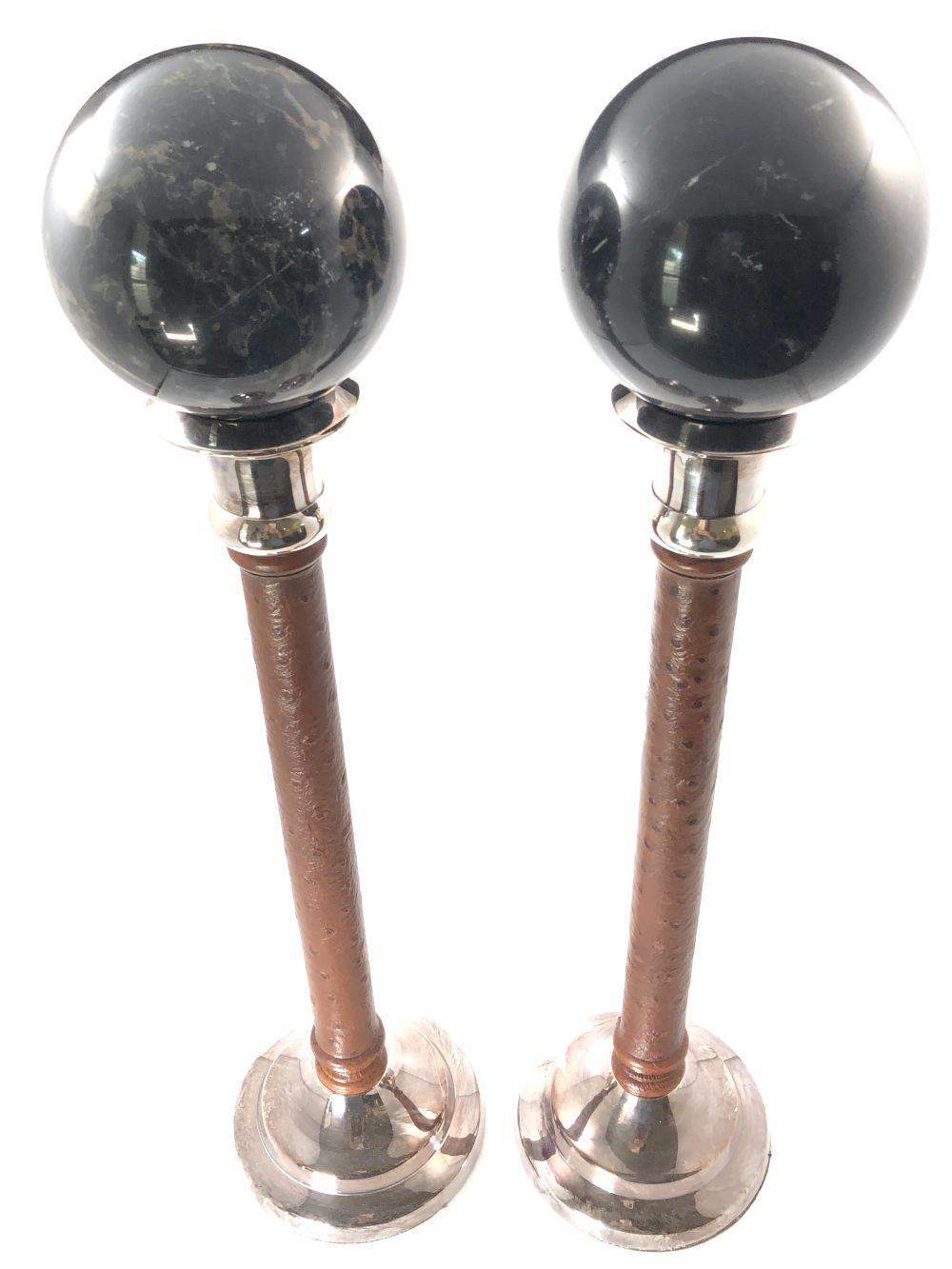 Pair of Kenneth Turner London Leather Covered Candlesticks with Decorative Marble Spheres