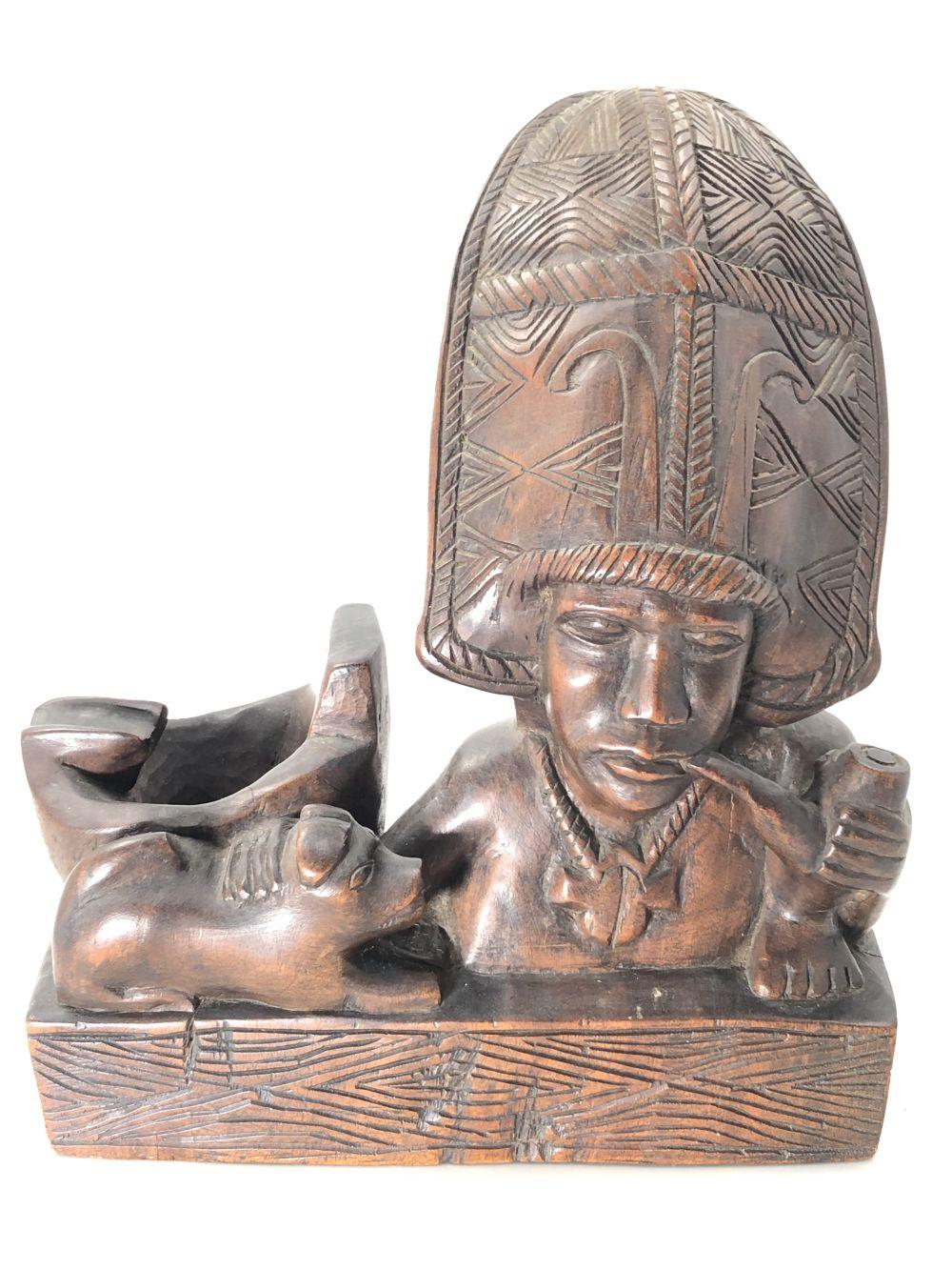 African Wood Carved Pipe Holder Sculpture