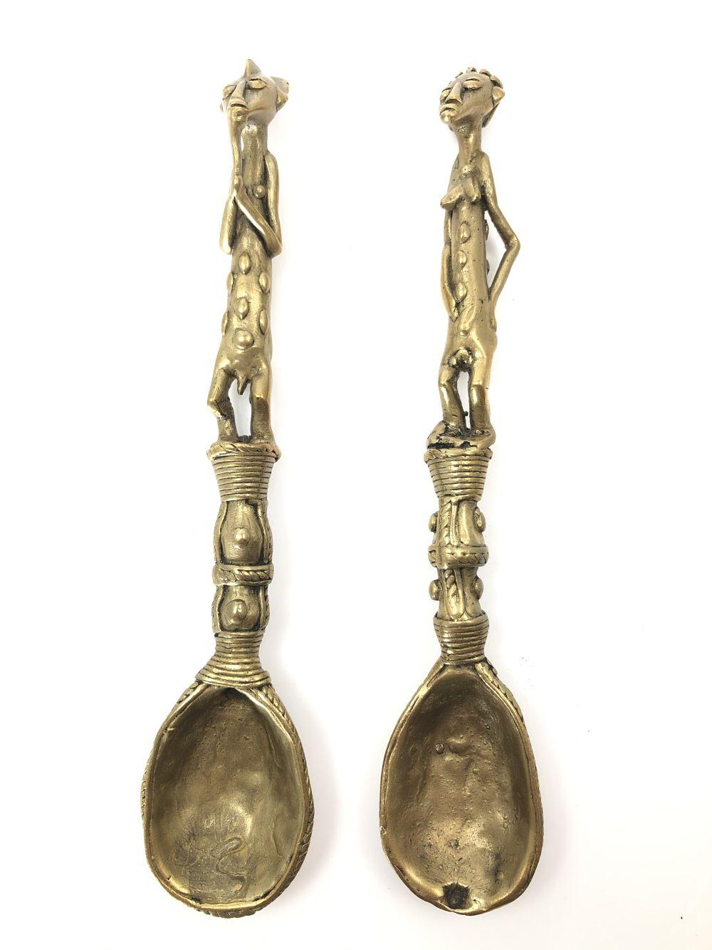 2 Antique Brass African Spoons