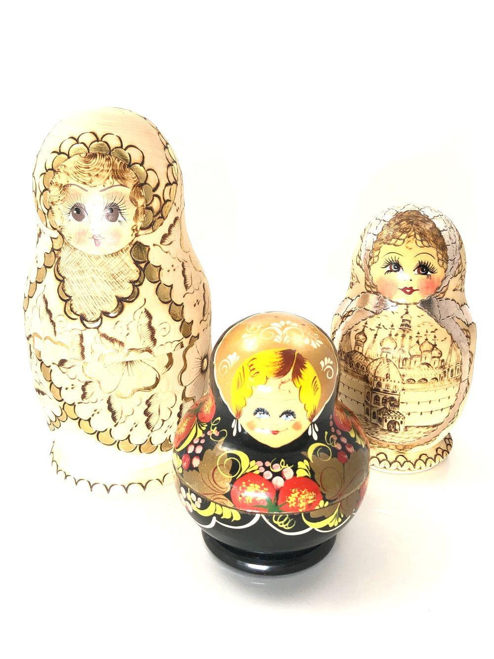 Grouping of 3 Russian Nests of Dolls