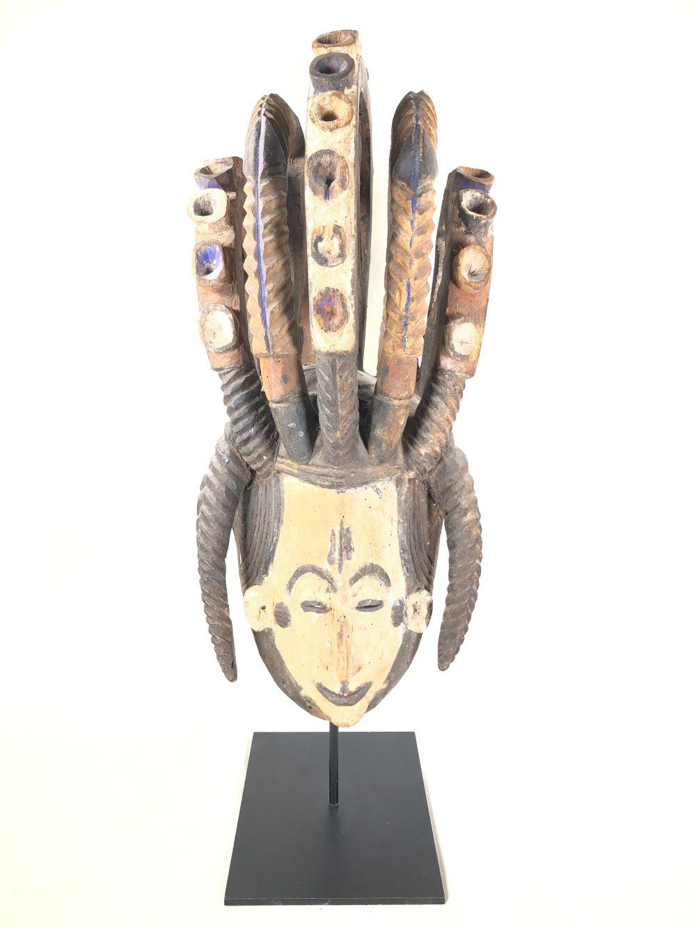 """Igbo Culture Nigeria Carved Wood Mask on Museum Stand Agbogho Mmuo """"Spirit Mask"""""""