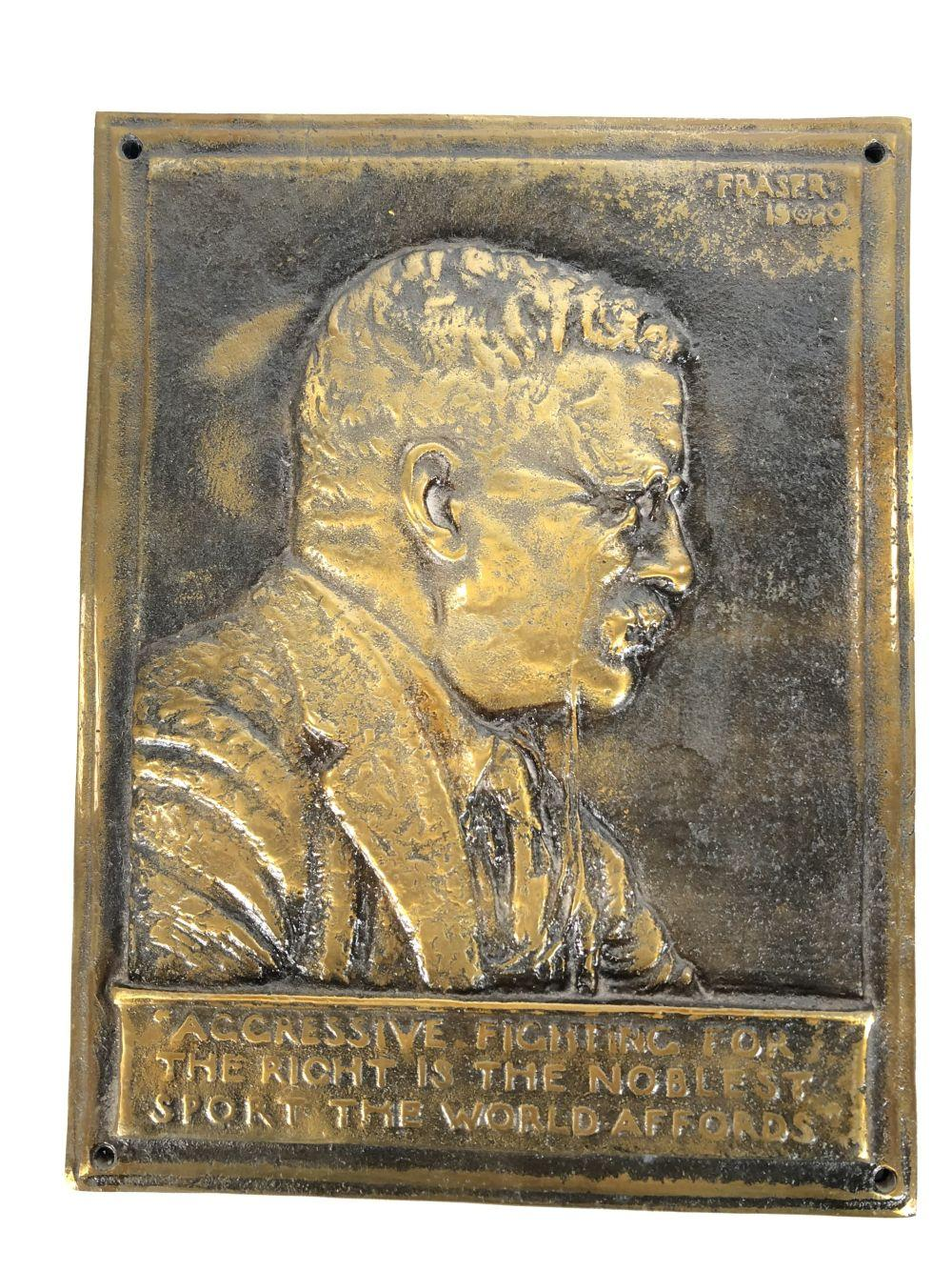 1920 Theodore Roosevelt Metal Plaque by James Earl Fraser