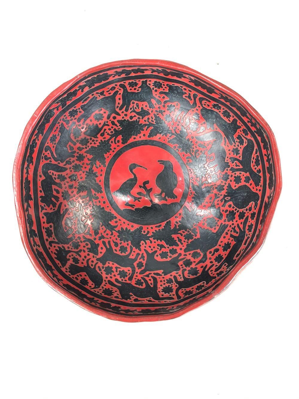Mid 20th C. Mexican Gourd Lacquered Bowl Depicting Lions