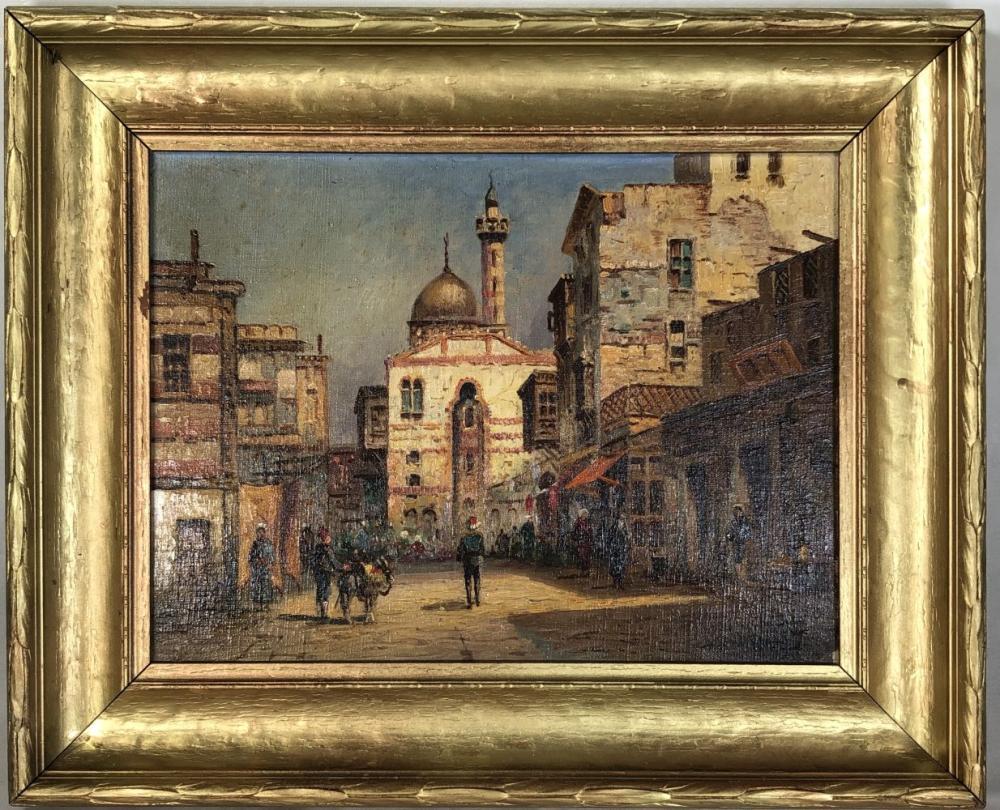 19th C. W Dale Signed Russian Street Art, Original Oil on Board
