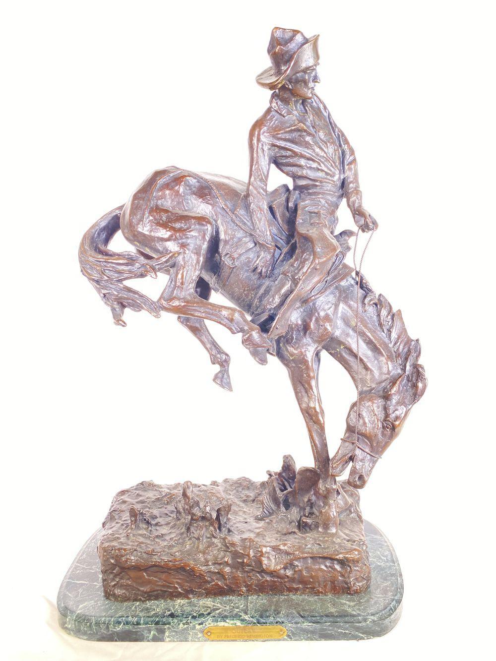 "Frederic Remington Bronze ""Outlaw"" w/ Marble Base"