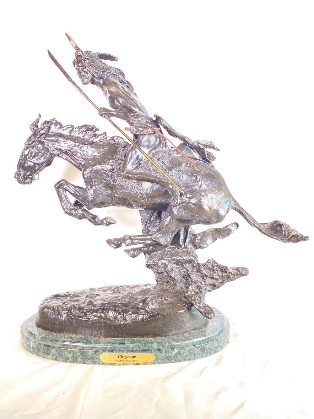 """Frederic Remington Bronze """"Cheyenne"""" w/ Marble Base"""