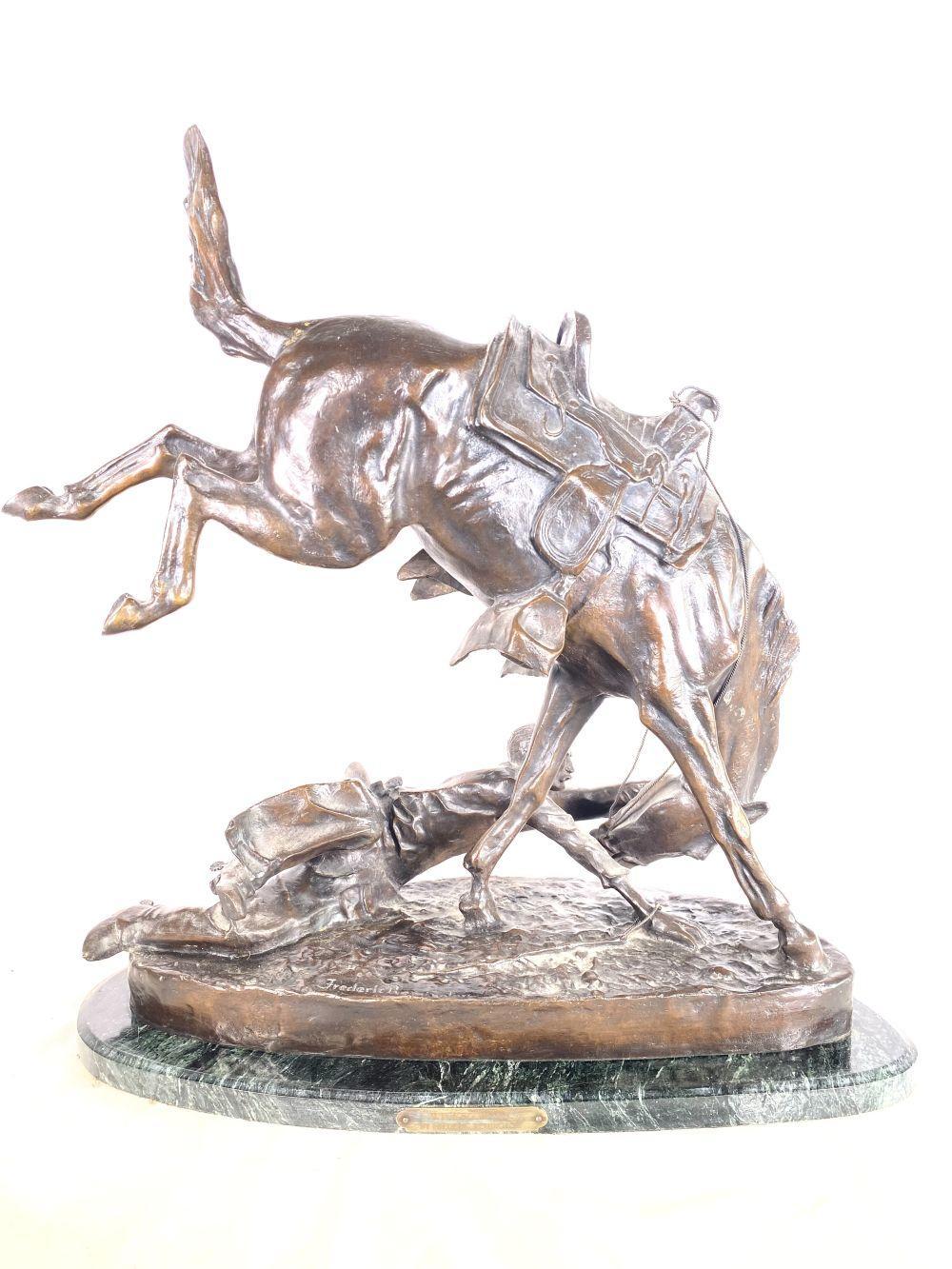 "Frederic Remington Bronze ""Wicked Pony"" w/ Marble Base"