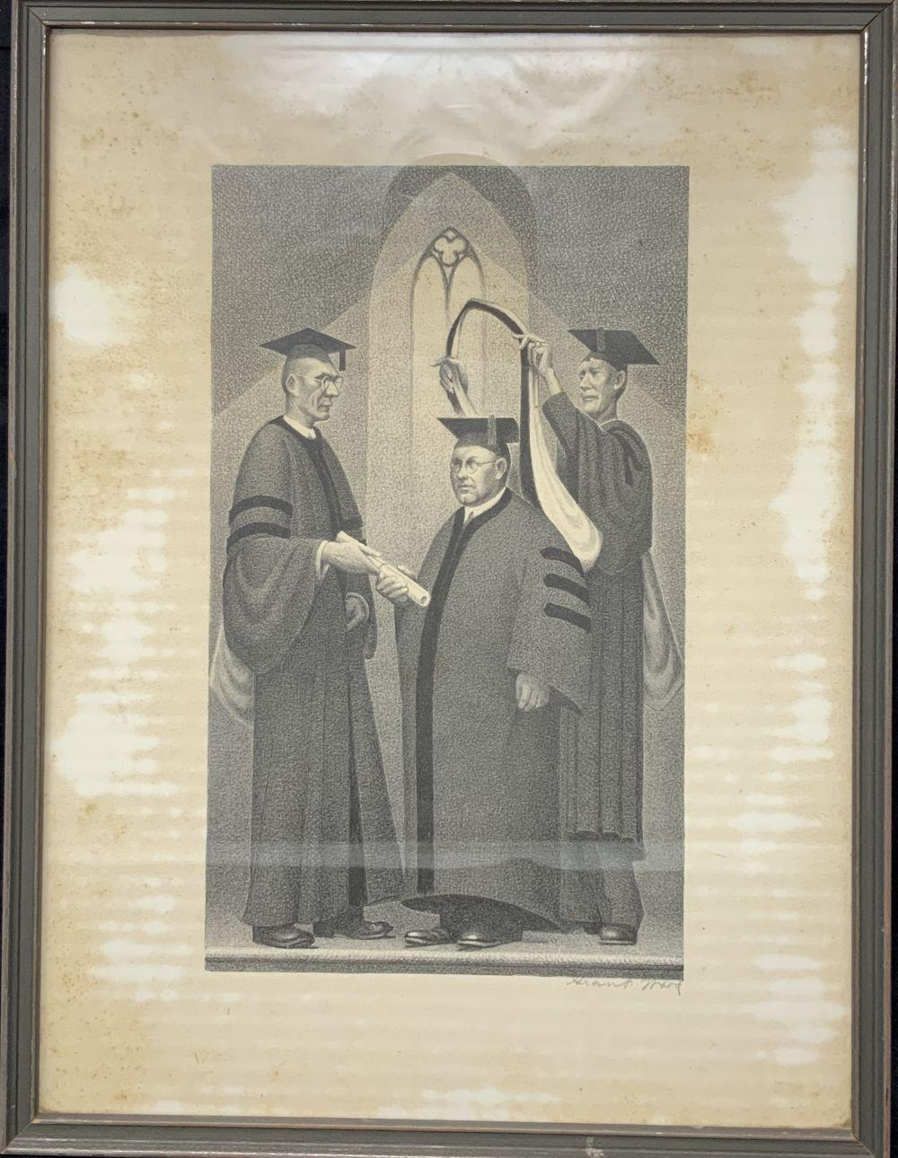 Grant Wood 1892-1942 Signed Lithograph on Paper