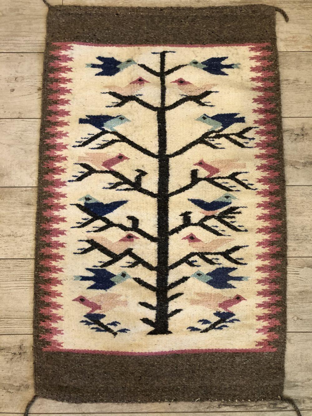 "Vintage Native American Hand Woven ""Tree of Life"" Rug"