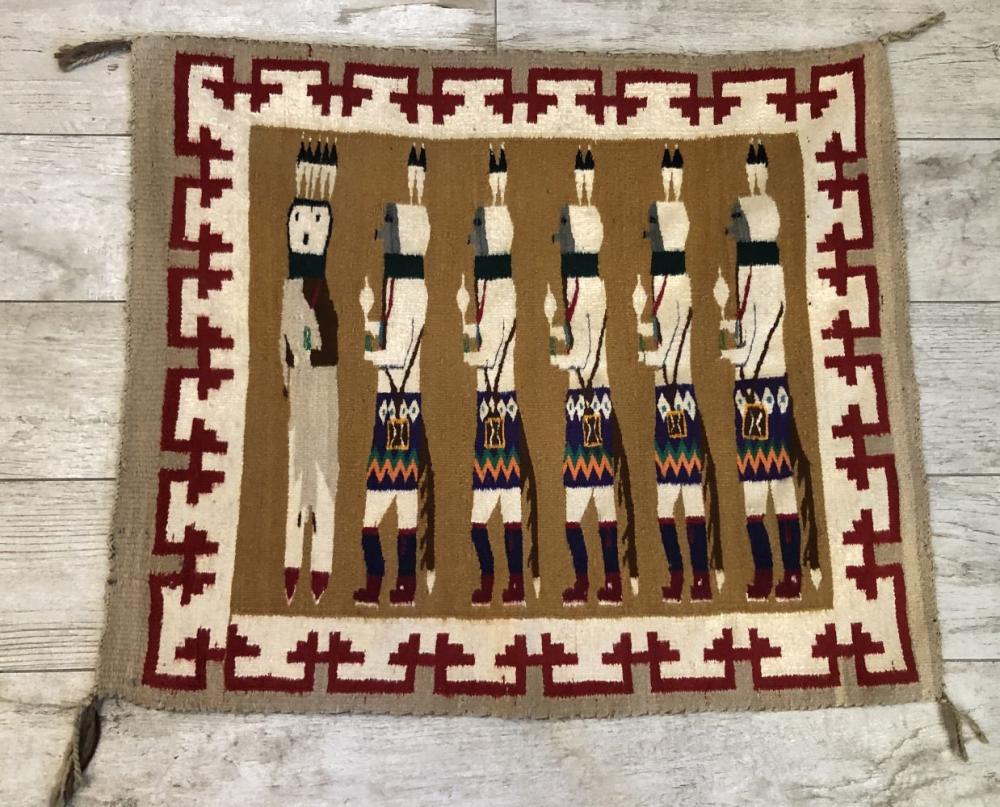 """Vintage Native American Hand Woven """"Yei"""" Rug"""