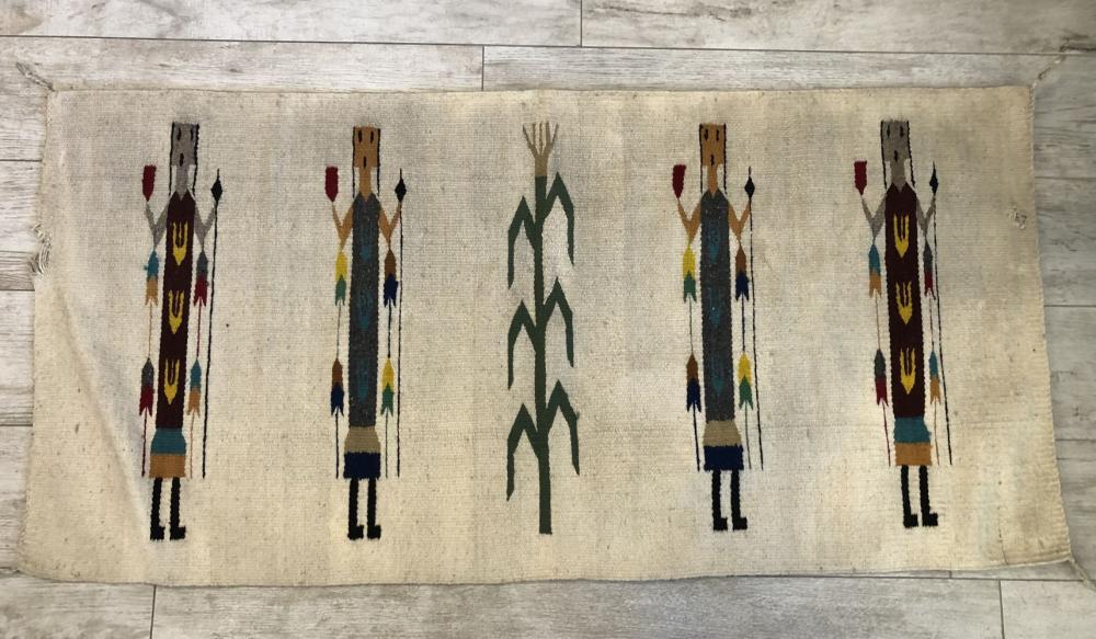 """Vintage Native American Hand Woven """"Yei Corn Maze"""" Rug"""