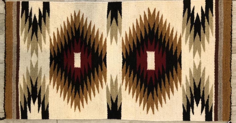 """Vintage Native American Hand Woven """"Diamond"""" Rug"""