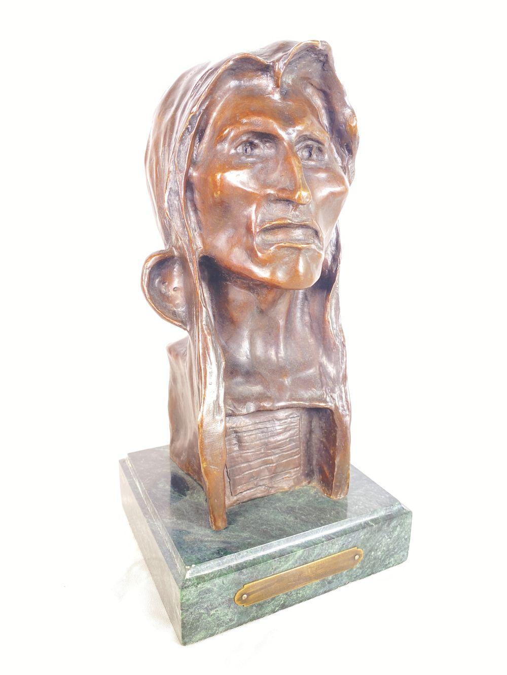 "Frederic Remington Bronze ""Savage"" w/ Marble Base"