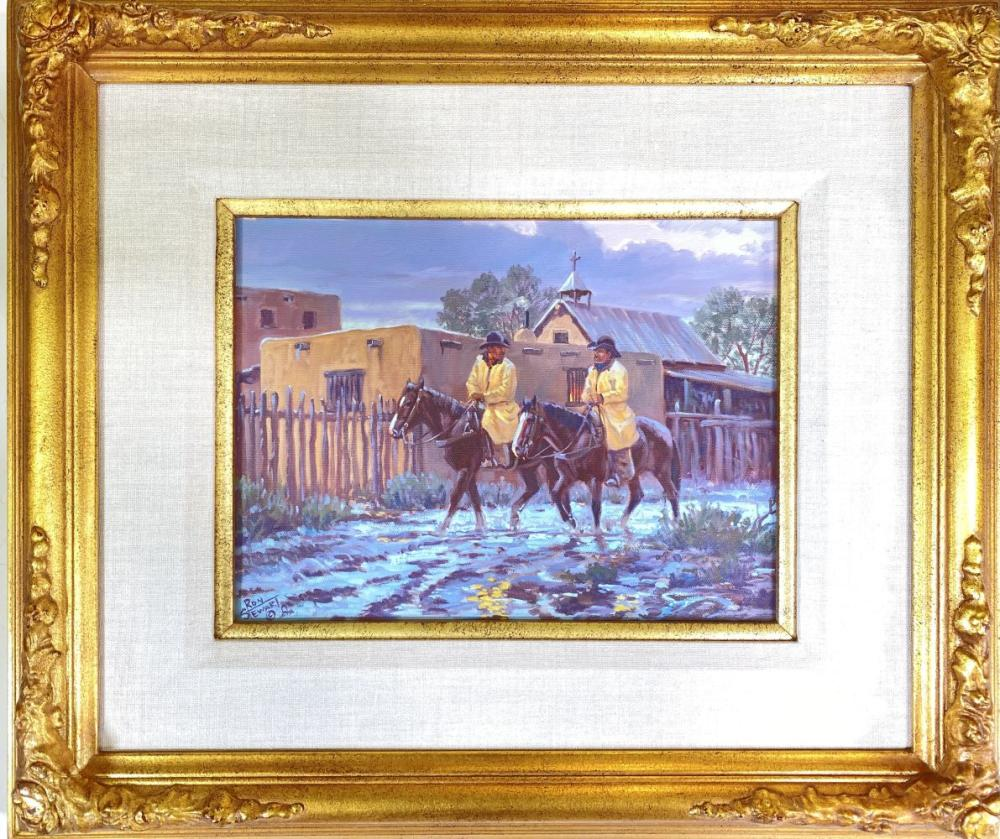 """Ron Stewart """"After The Storm"""" Original Oil on Canvas Western Cowboy Painting"""