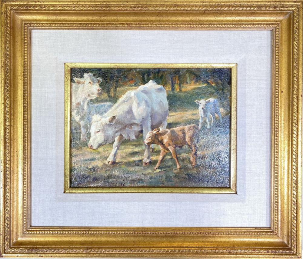 Phil Beck Original Oil on Canvas Painting Depicting Cows