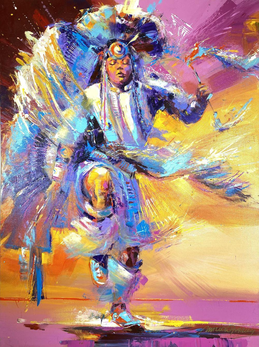 Malcolm Farley Original Oil On Canvas Painting Depicting Native American