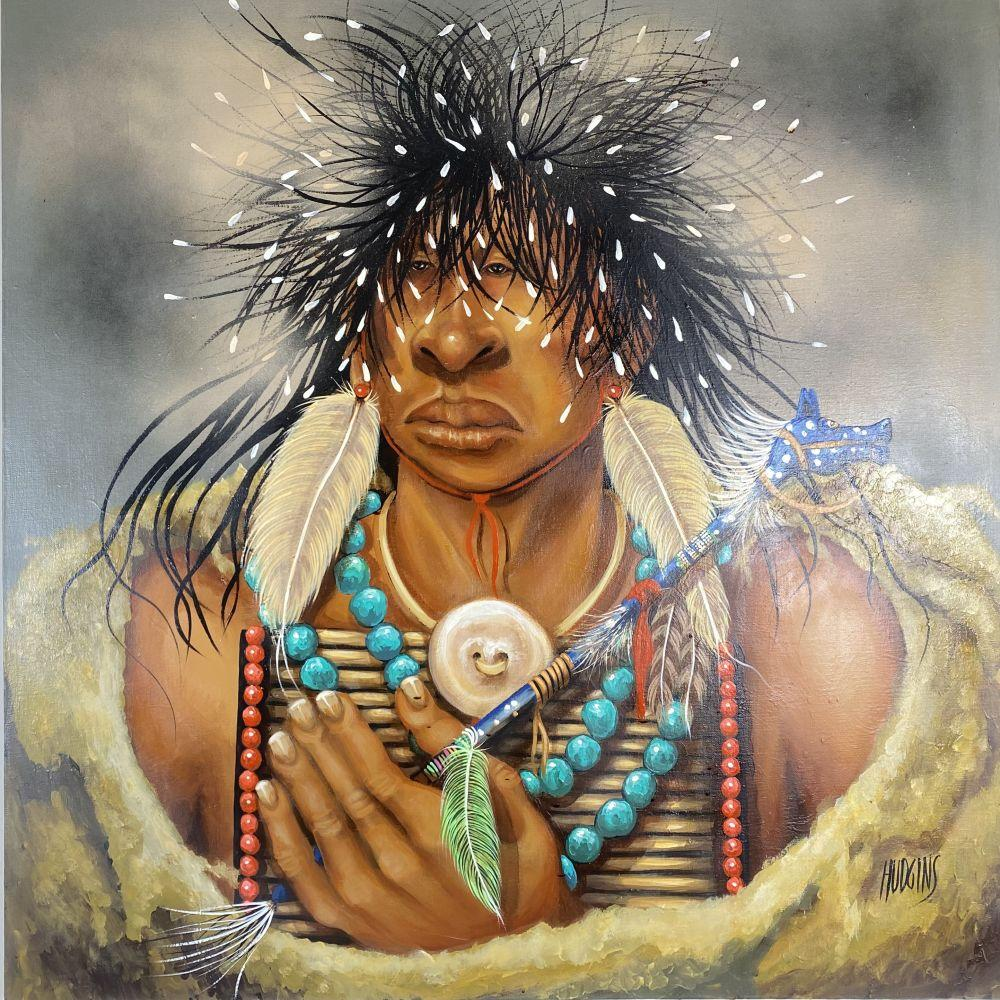 Mary Hudgins Native American Indian Original Oil on Canvas Art