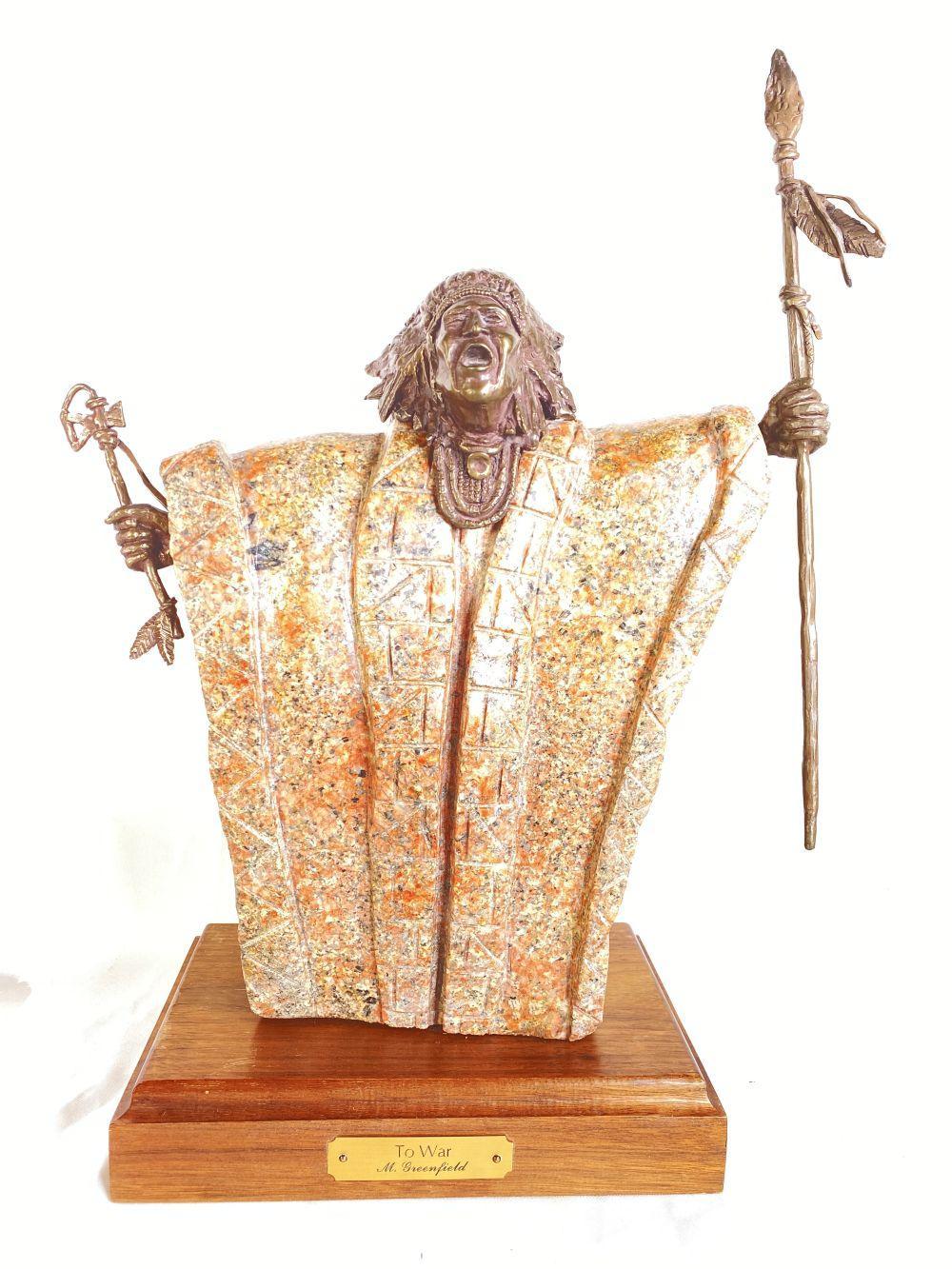 "Mike Greenfield WAA ""To War"" Original Bronze & Stone Sculpture"