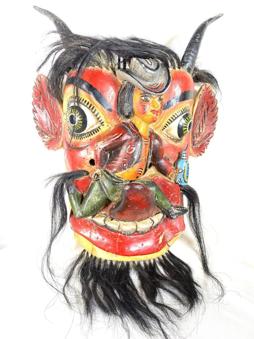 Vintage Mexican Ceremonial Dance Tribal Wood Mask