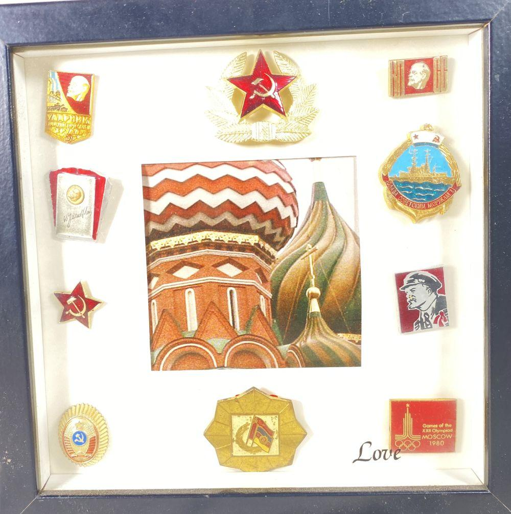 Vintage Russian Shadow Box of Enamel Badges and Pins